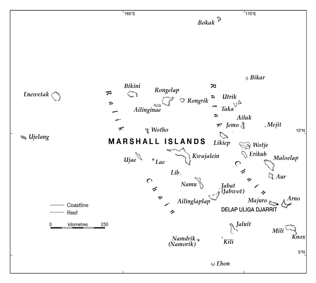 Large map of Marshall Islands with island names
