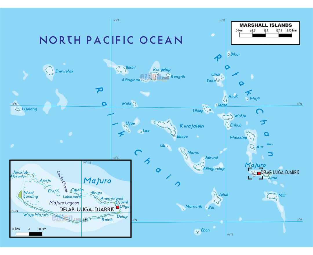 Large physical map of Marshall Islands with other marks