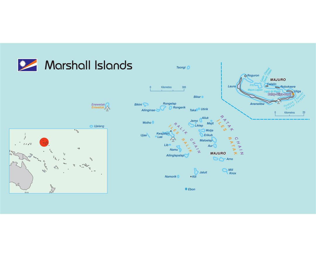 Large political map of Marshall Islands with airports and other marks