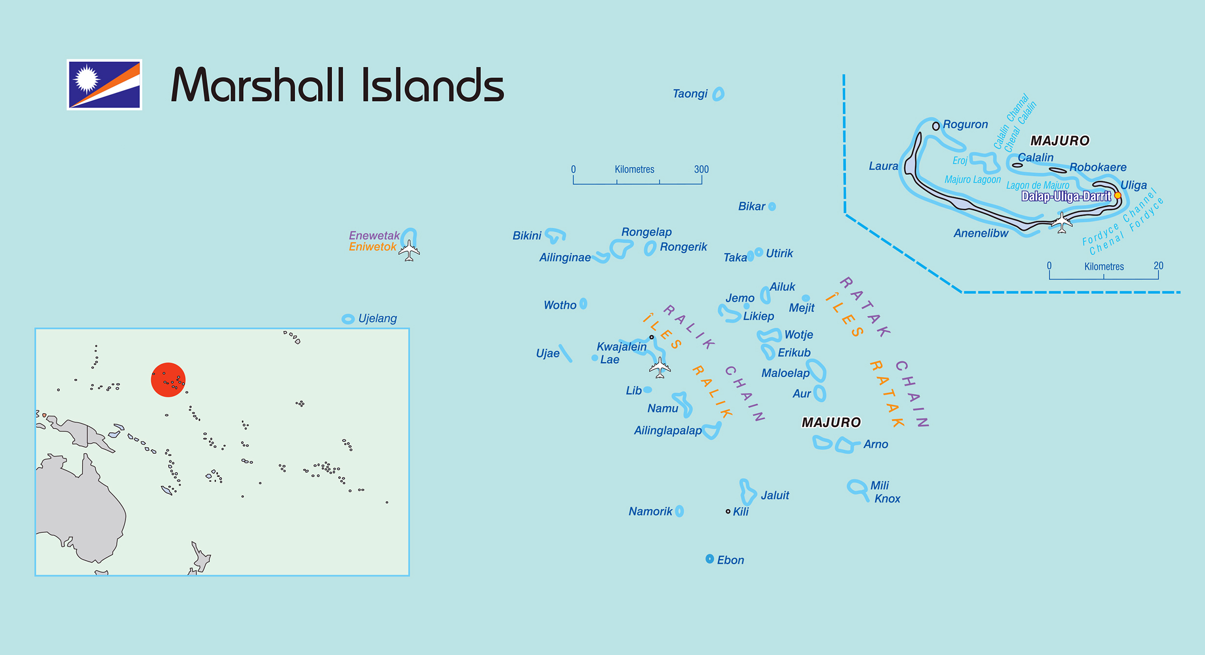 Large political map of Marshall Islands with airports and ...