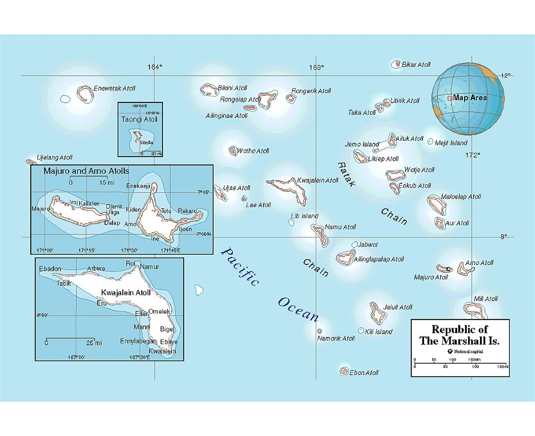 Political map of Marshall Islands