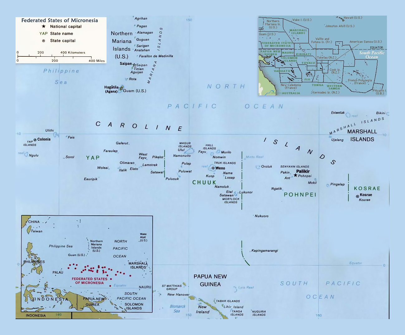 Detailed political map of Federated States of Micronesia with major