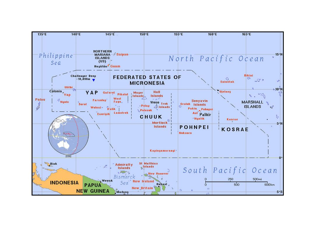 Detailed political map of Micronesia