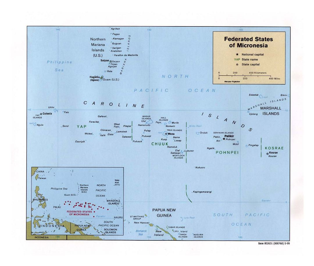 Large political map of Federated States of Micronesia with major cities - 1999