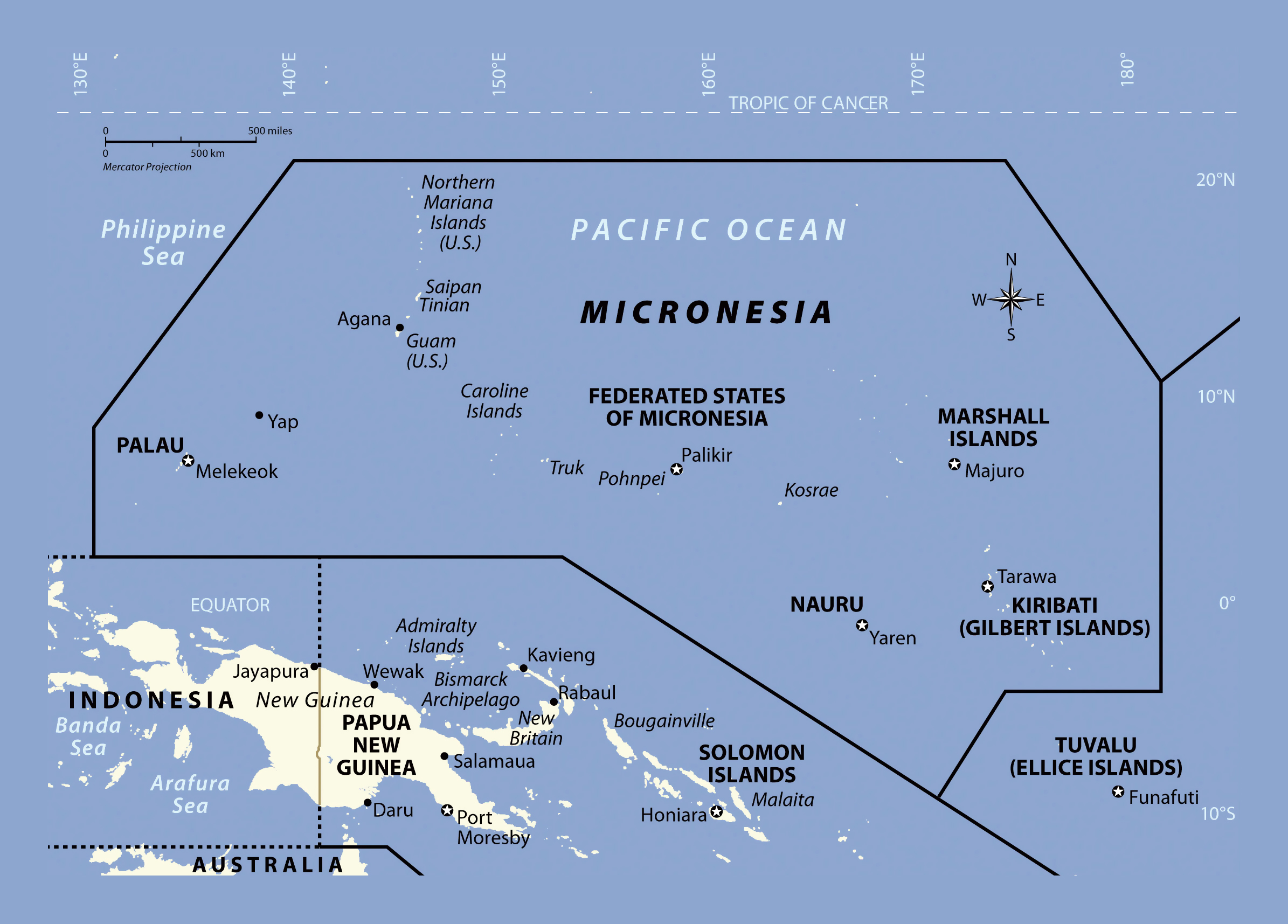 Large political map of Micronesia Micronesia Oceania Mapsland