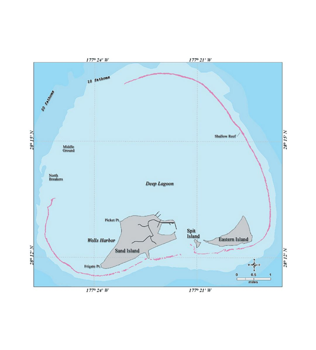 Detailed map of Midway Islands