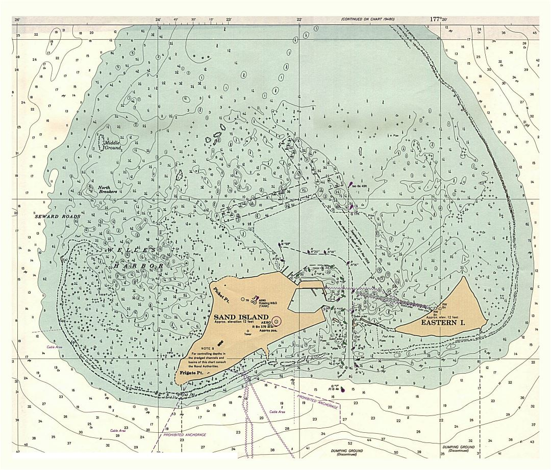 Large topographical map of Midway Islands