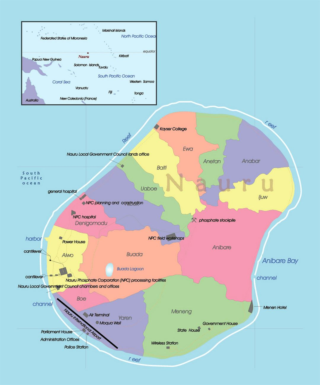 Detailed administrative map of Nauru