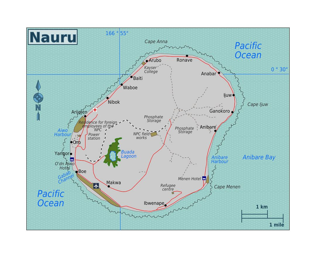 Detailed map of Nauru with roads, localities, airport and other marks