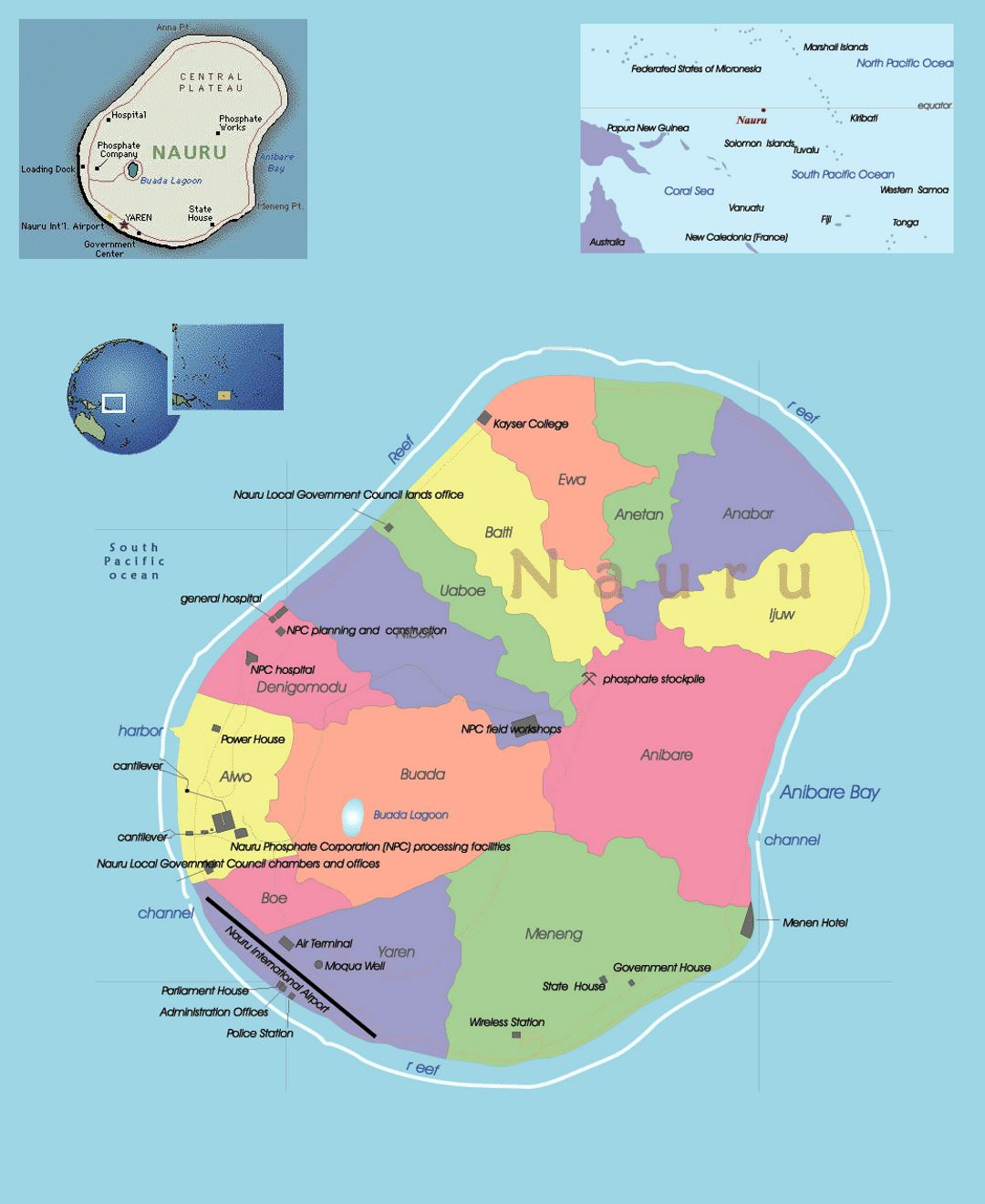 Detailed political and administrative map of Nauru with other marks