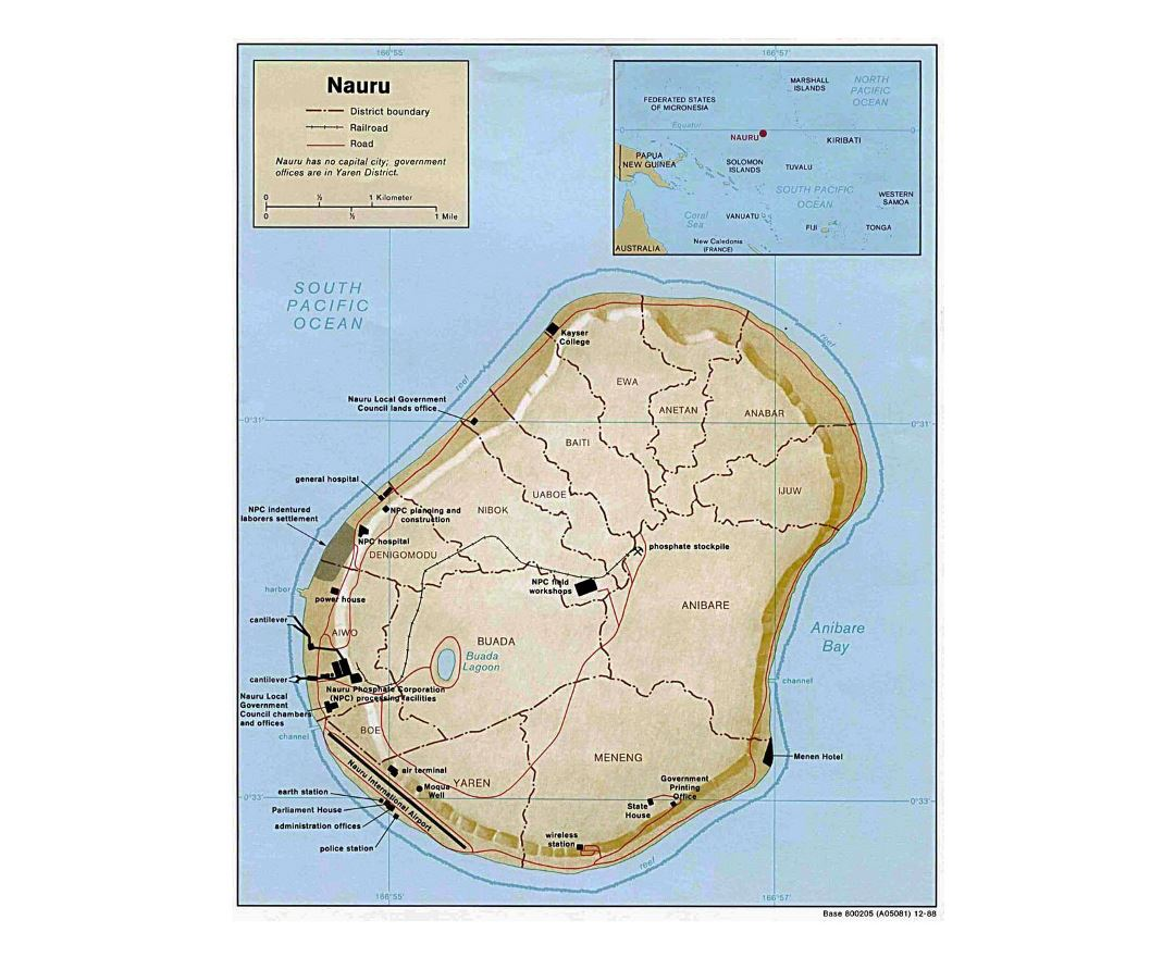 Detailed political and administrative map of Nauru with relief, roads, railroads and other facilities - 1988