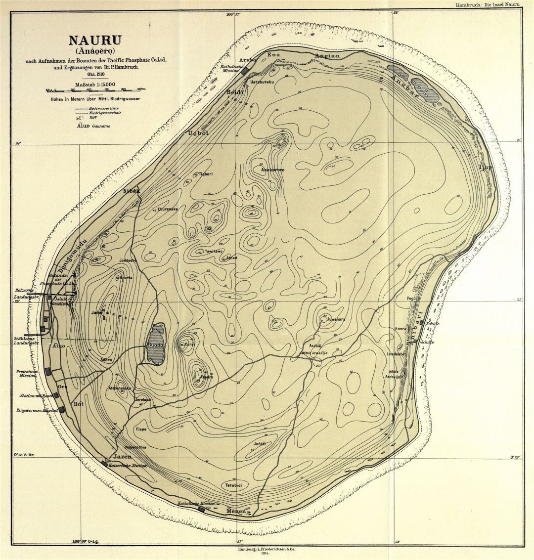 Large detailed old topographical map of Nauru with marks - 1914