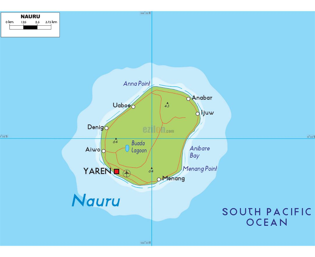 Large elevation map of Nauru with roads, localities and airport