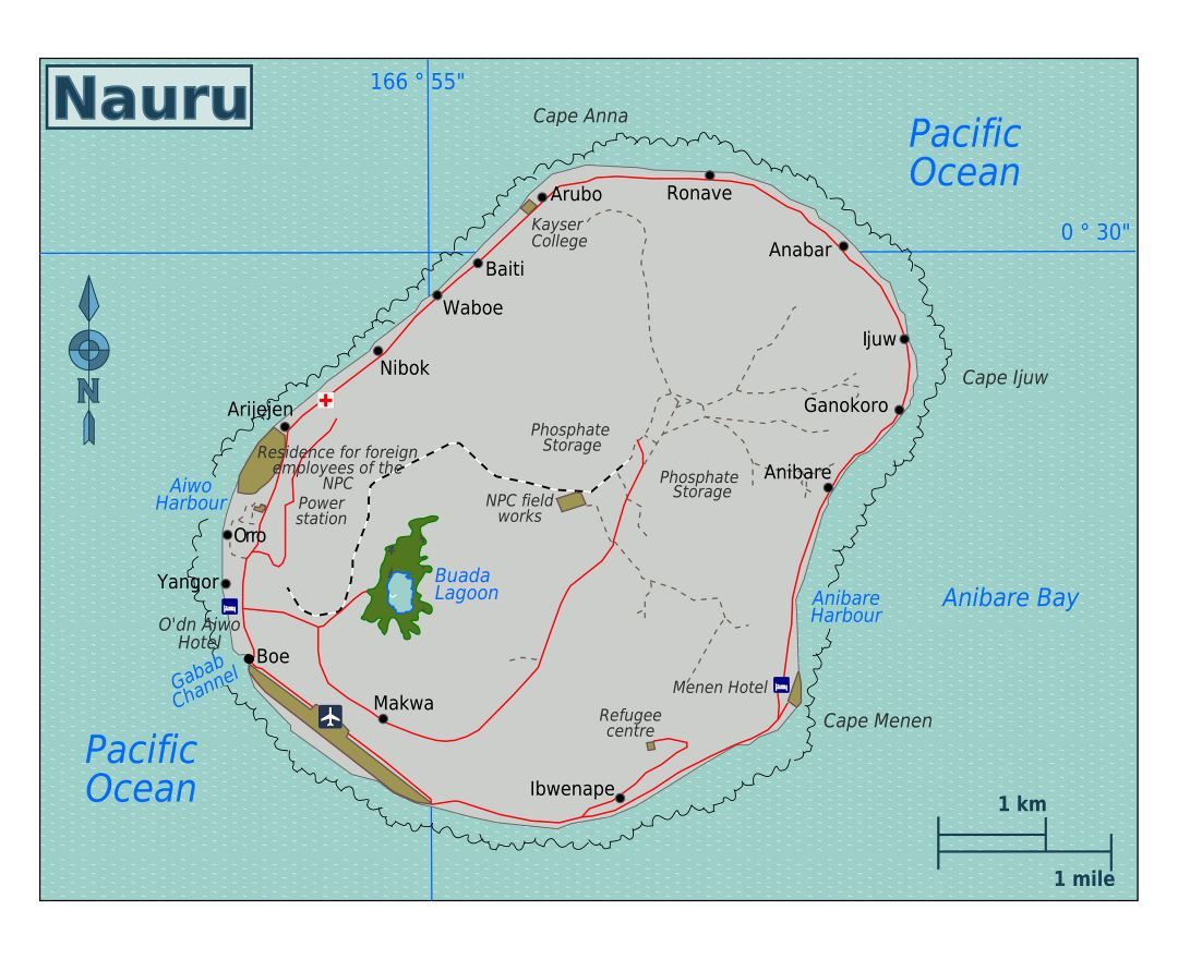 Large map of Nauru with roads, localities, airport and other marks