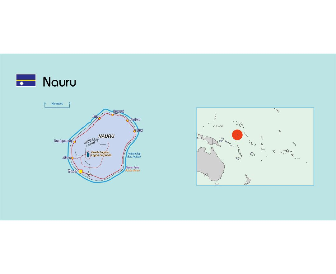 Large political map of Nauru with other marks