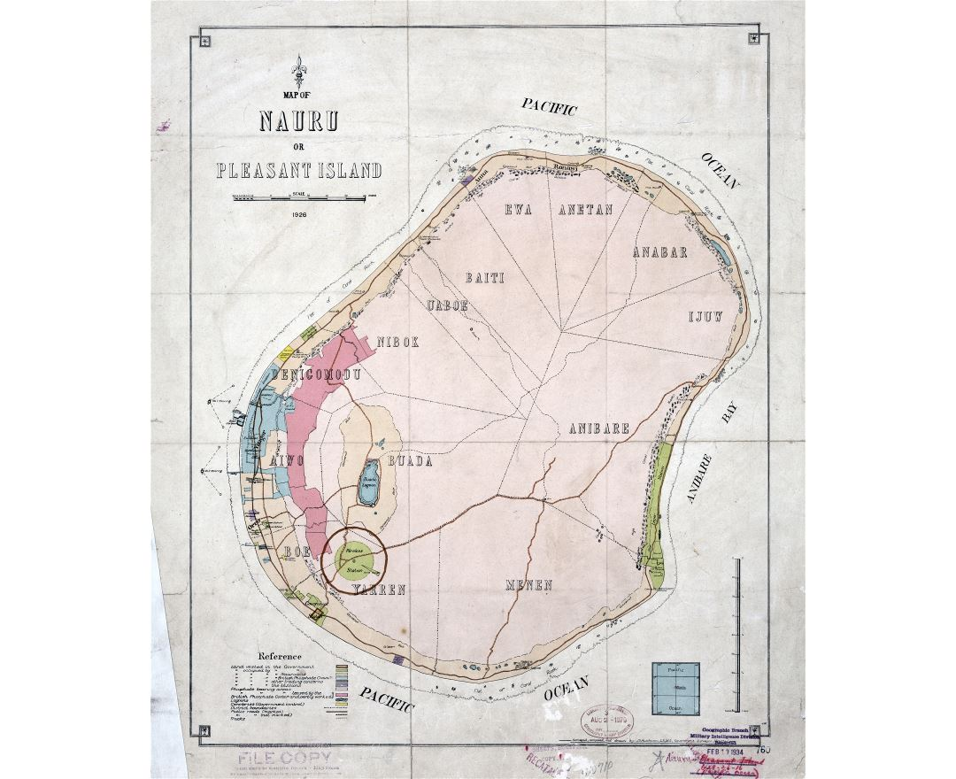 Large scale old map of Nauru or Pleasant Island with other marks - 1926
