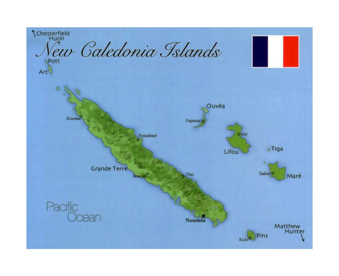 Detailed map of New Caledonia with flag