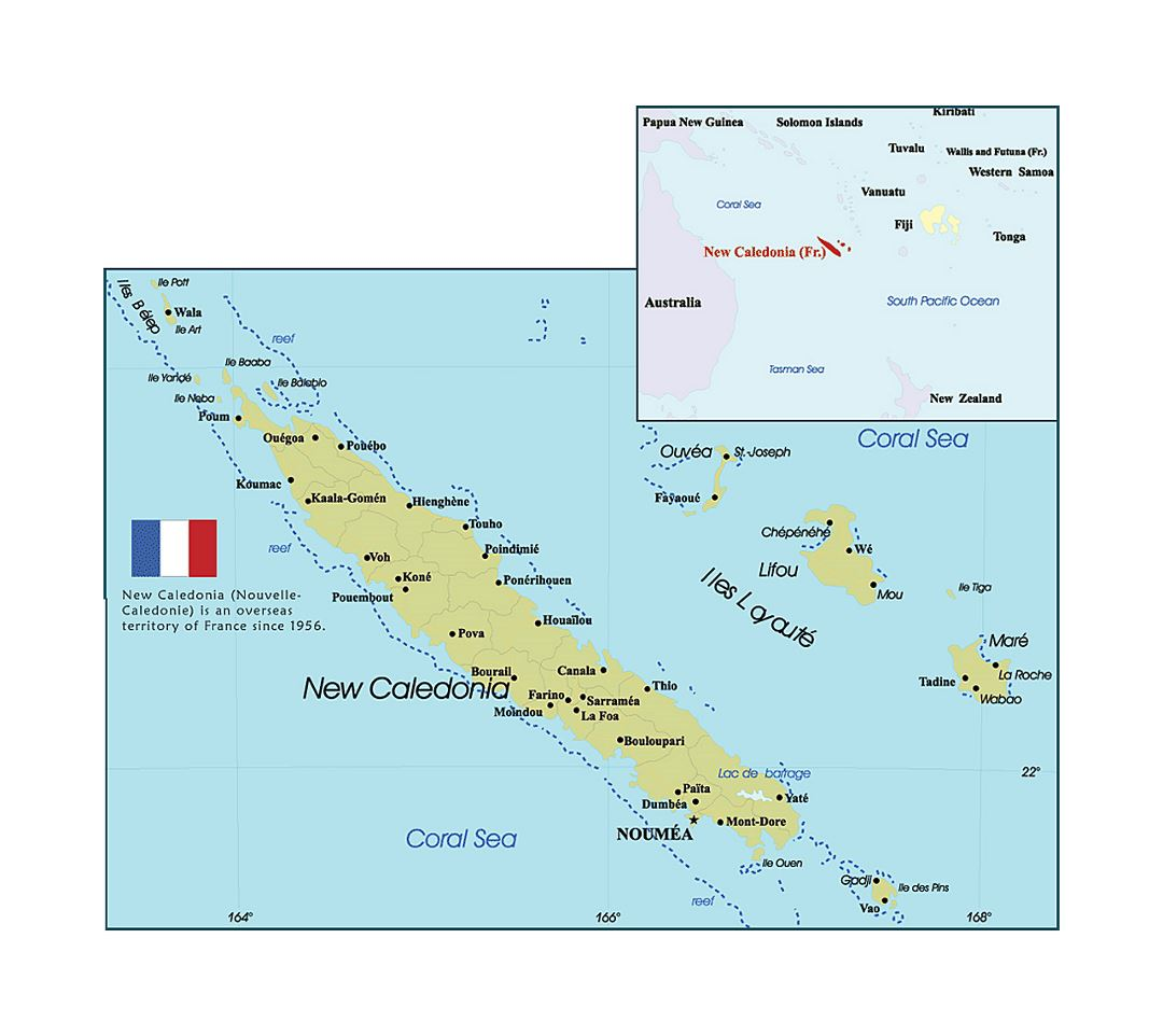 Detailed political and administrative map of New Caledonia with cities