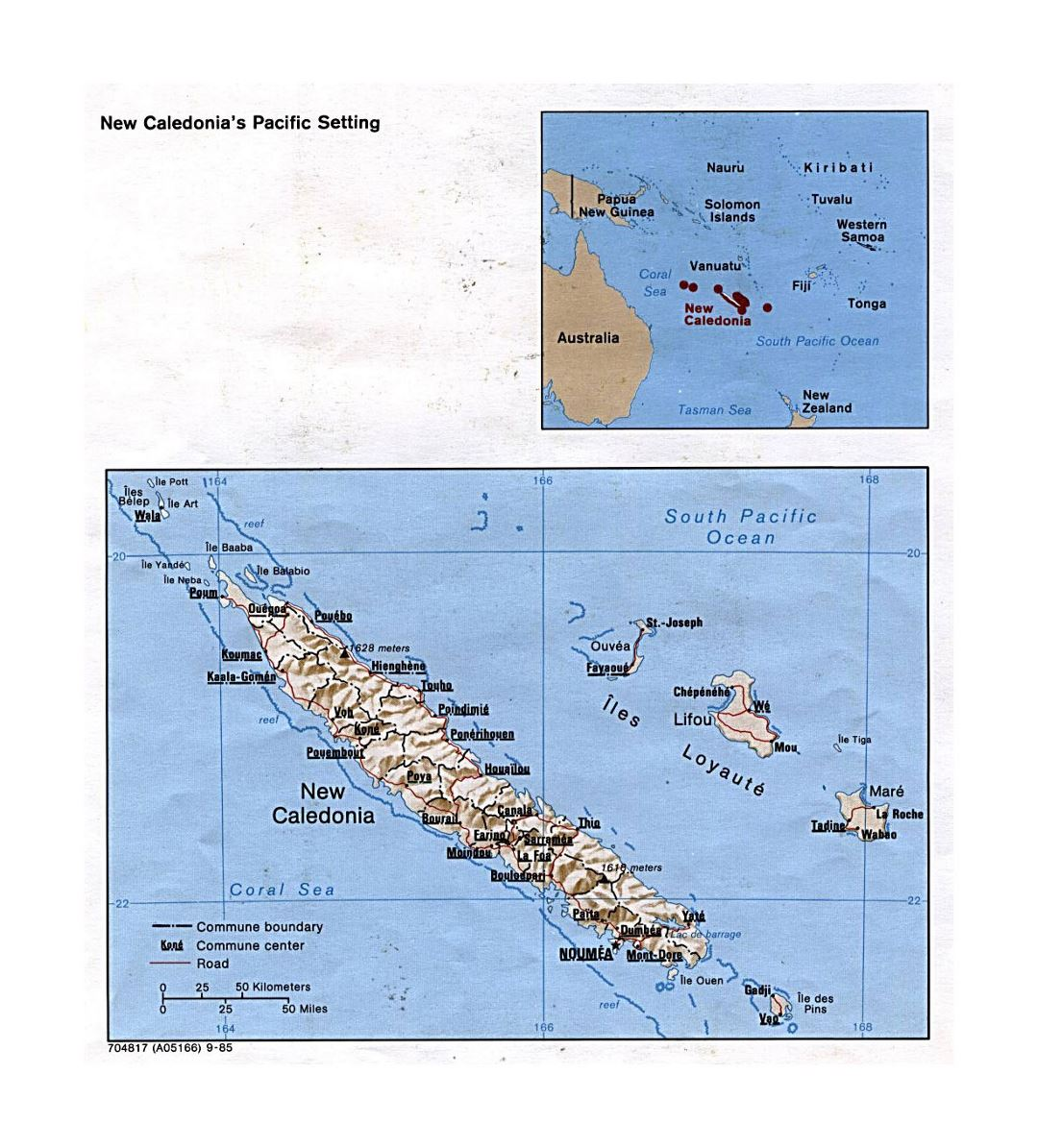 Detailed political and administrative map of New Caledonia with relief, roads and cities - 1985