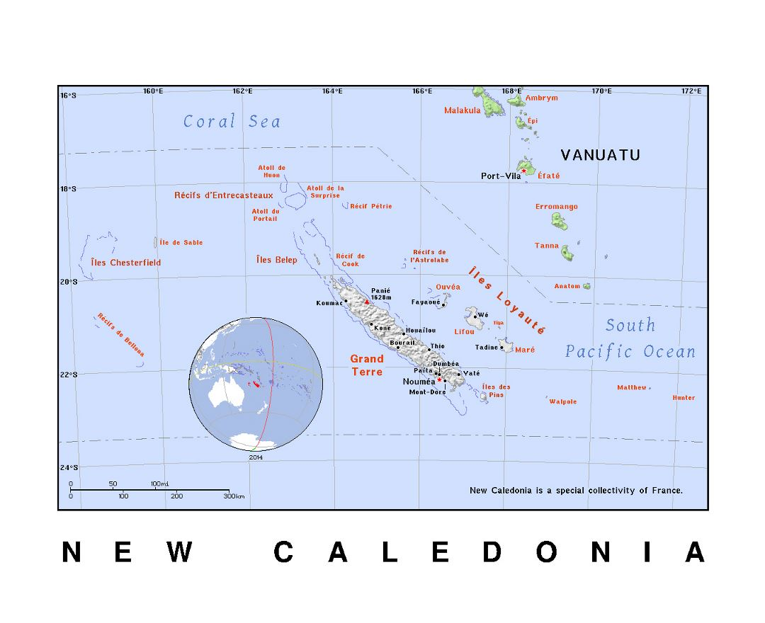 Detailed political map of New Caledonia with relief