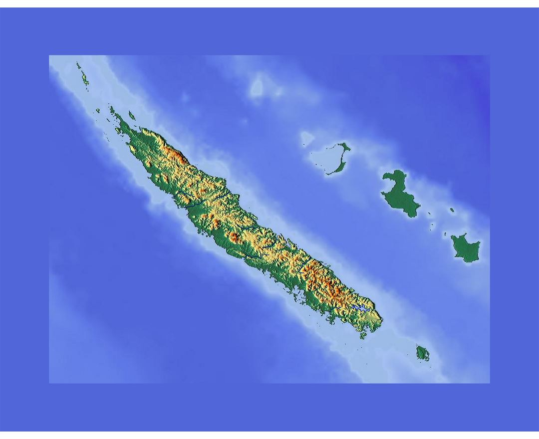 Detailed relief location map of New Caledonia