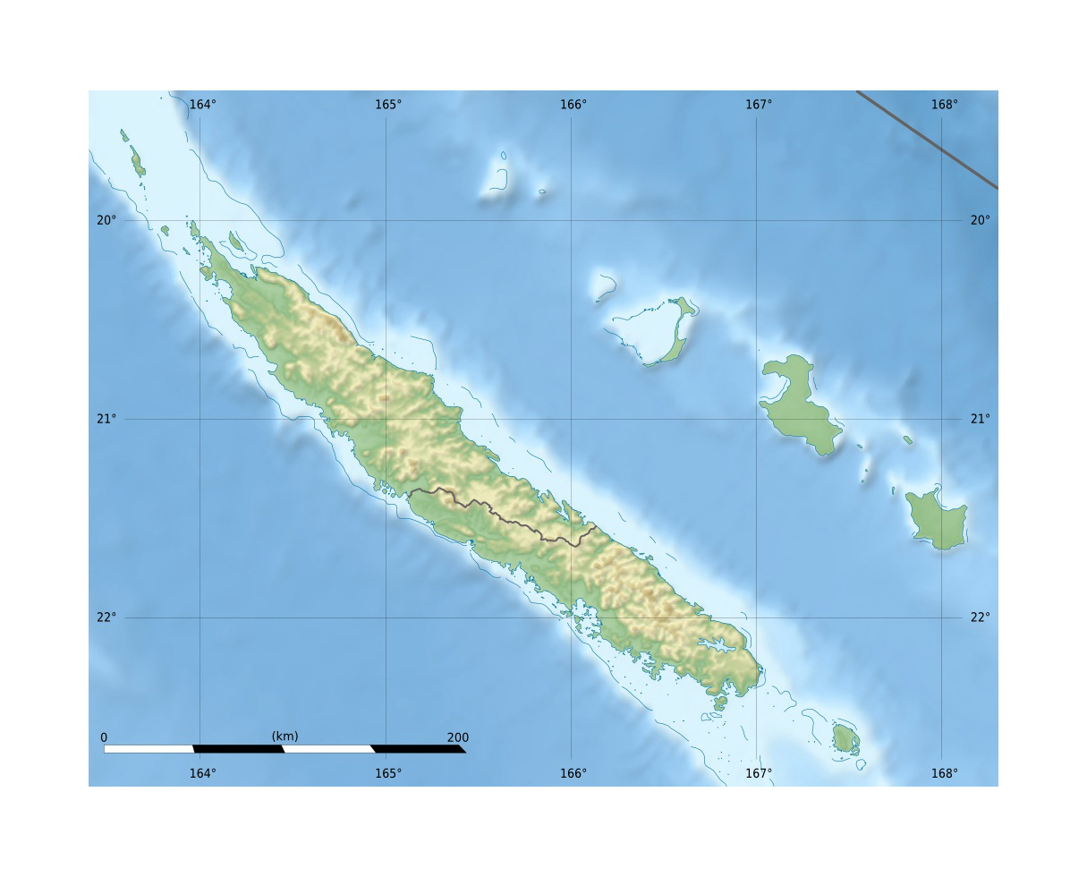 Detailed relief map of New Caledonia | New Caledonia | Oceania ... on