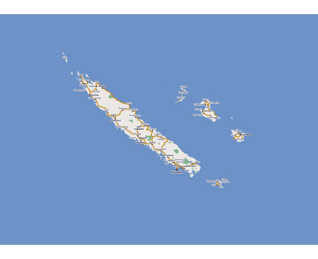 Detailed road map of New Caledonia with cities