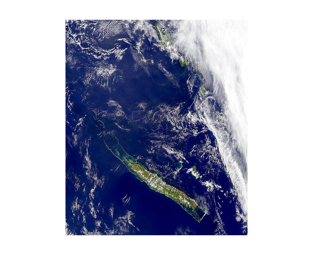 Detailed satellite map of New Caledonia