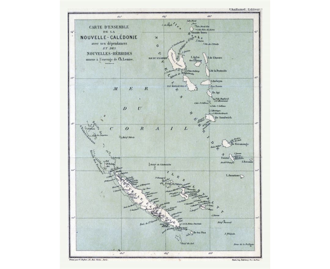 Large detailed old map of New Caledonia with other marks - 1884
