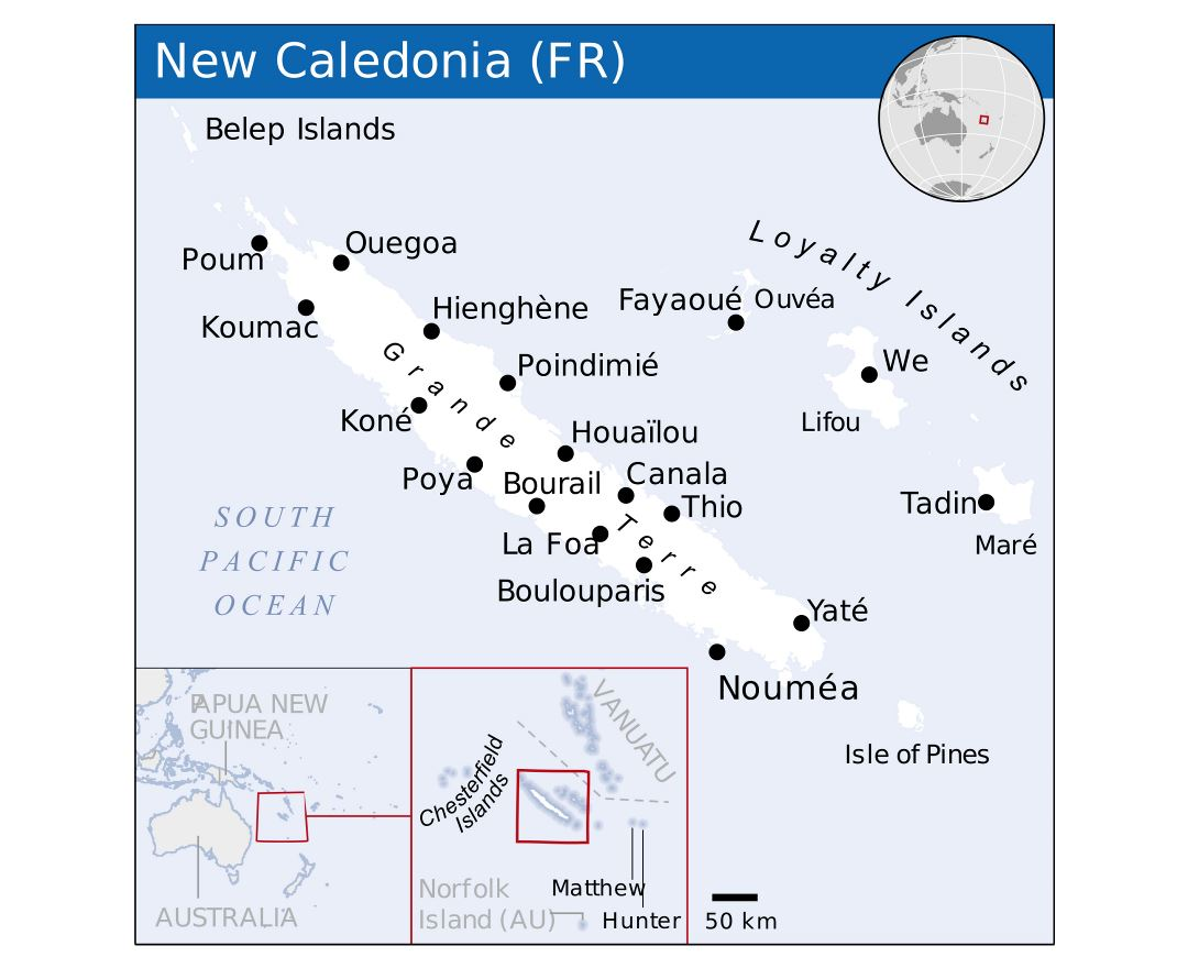 Large political map of New Caledonia with cities
