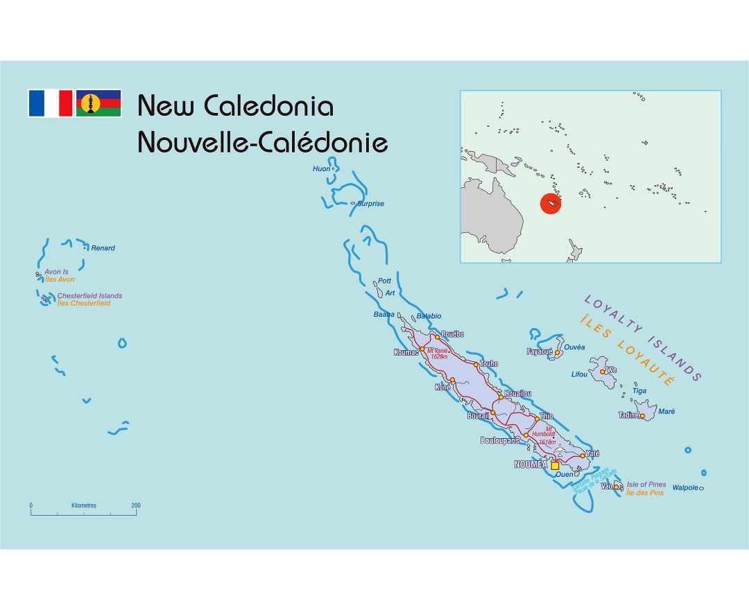 Large political map of New Caledonia with roads and cities