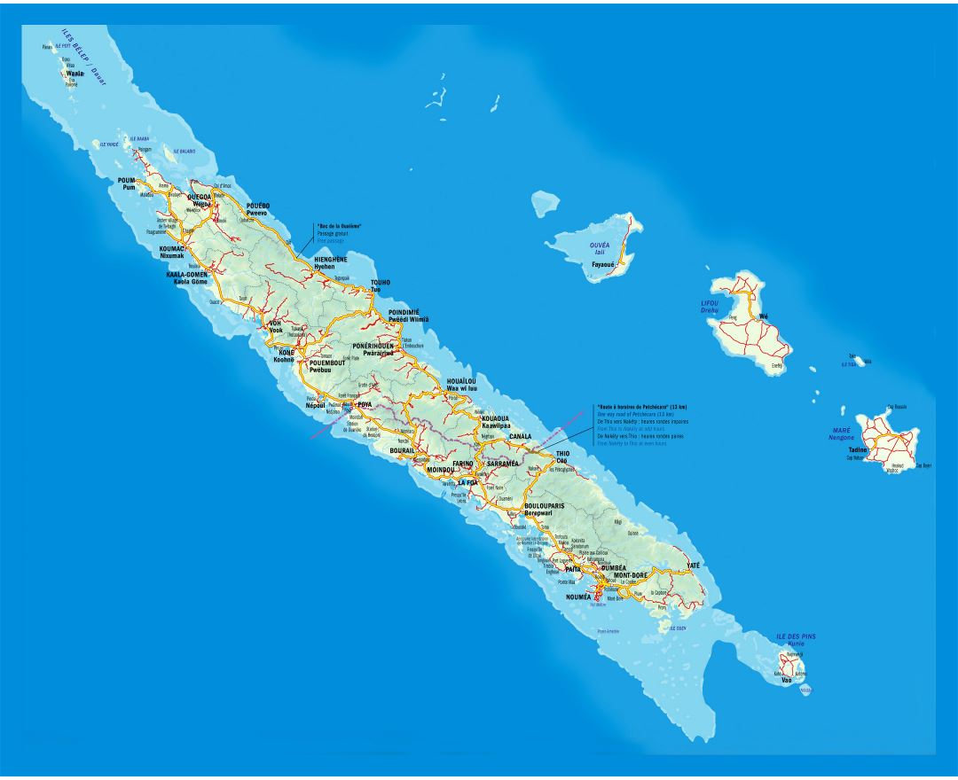 Large road map of New Caledonia with relief and cities