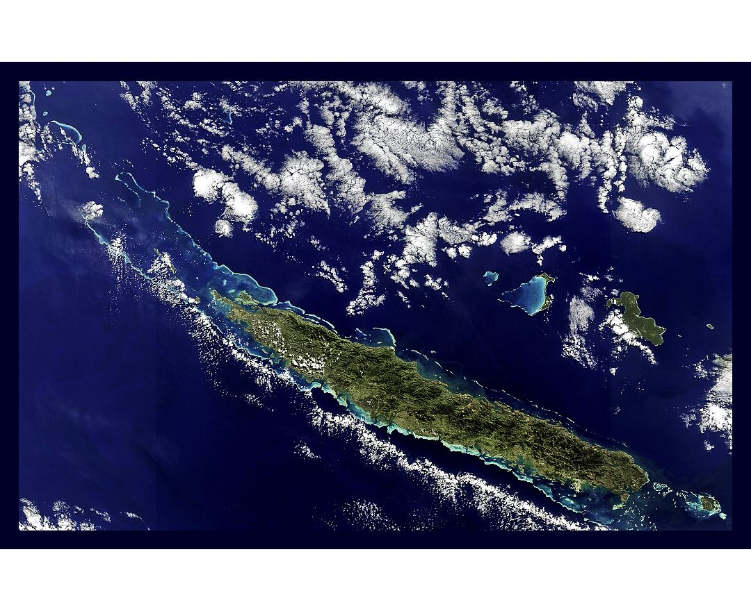 Large satellite map of New Caledonia