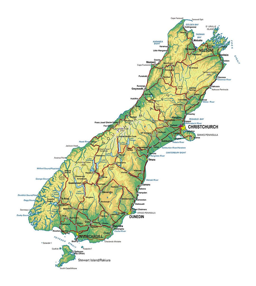 New Zealand Map South.Detailed Map Of South Island New Zealand With Other Marks New