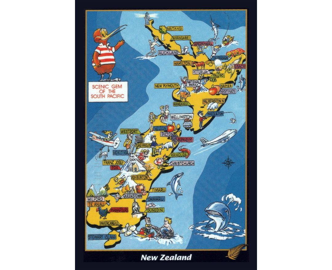 Detailed pictorial map of New Zealand