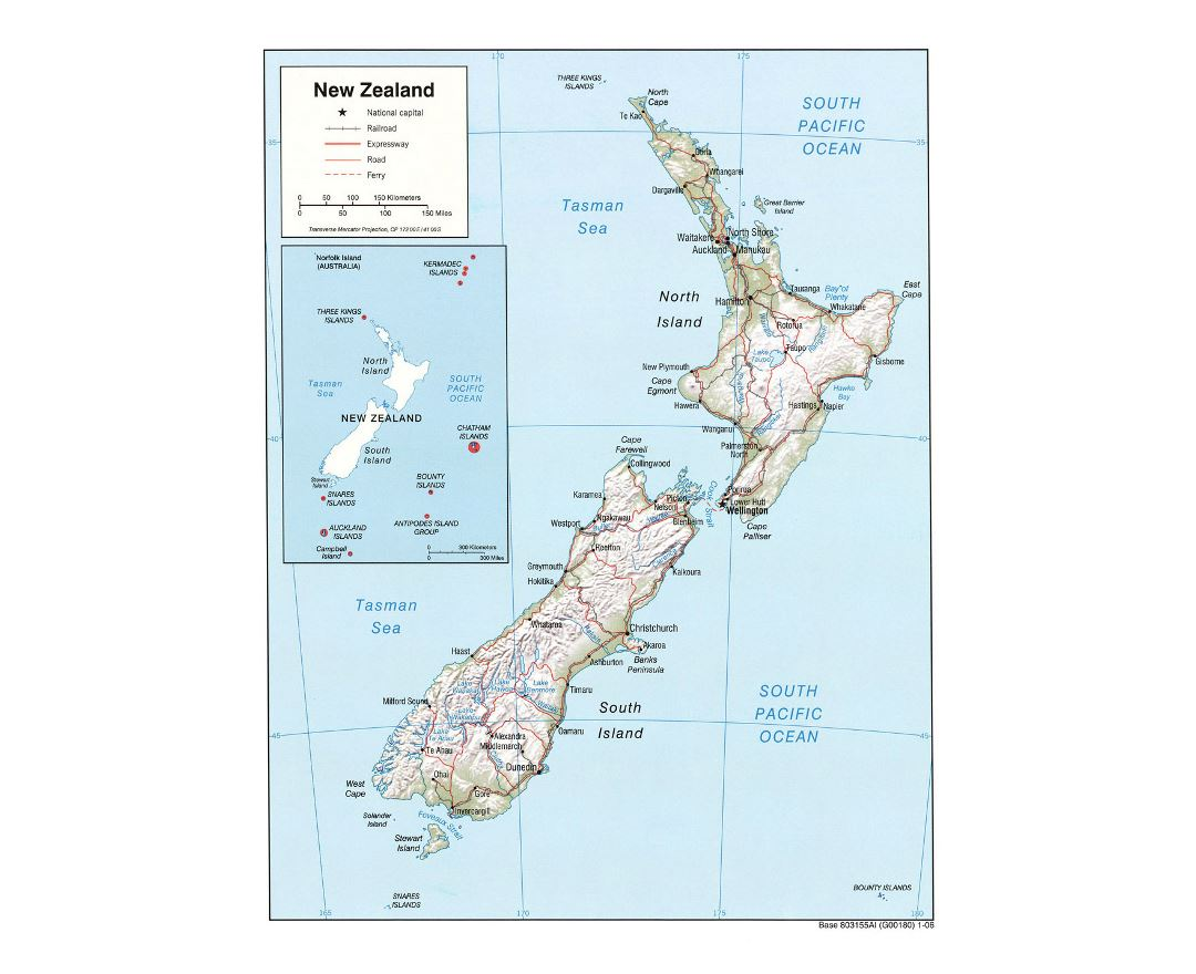 Detailed political map of New Zealand with relief, roads, railroads and cities - 2006