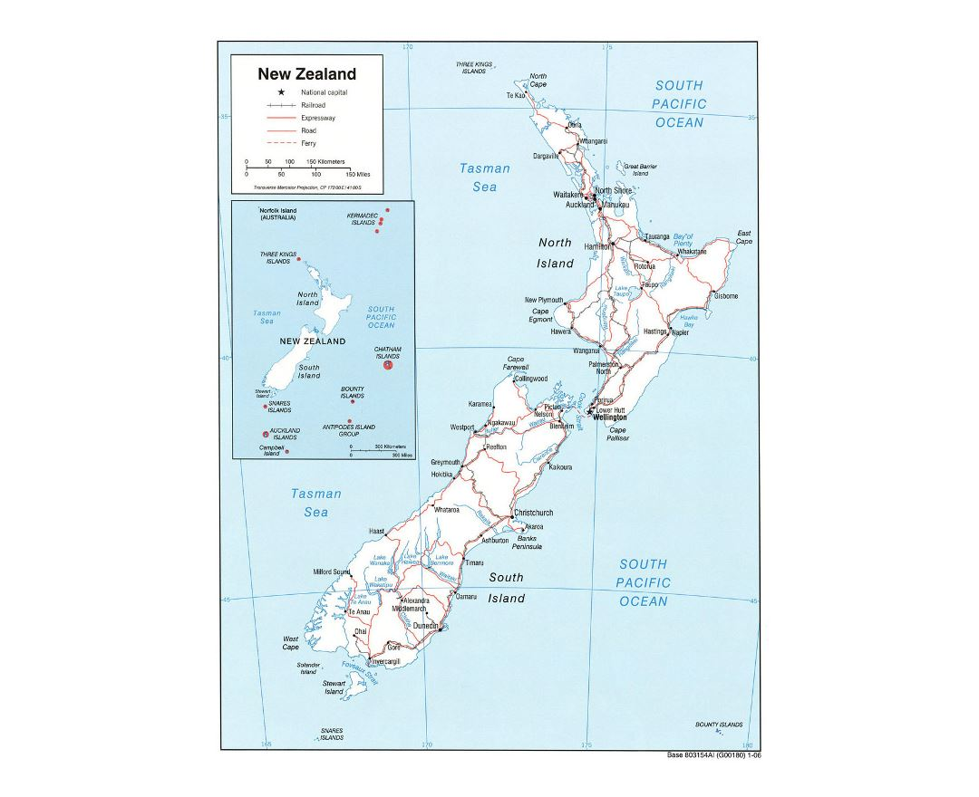 Detailed political map of New Zealand with roads, railroads and cities - 2006
