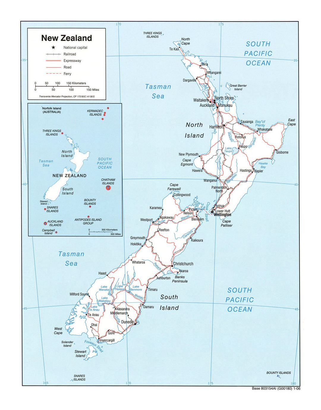 Political Map Of New Zealand.Detailed Political Map Of New Zealand With Roads Railroads And