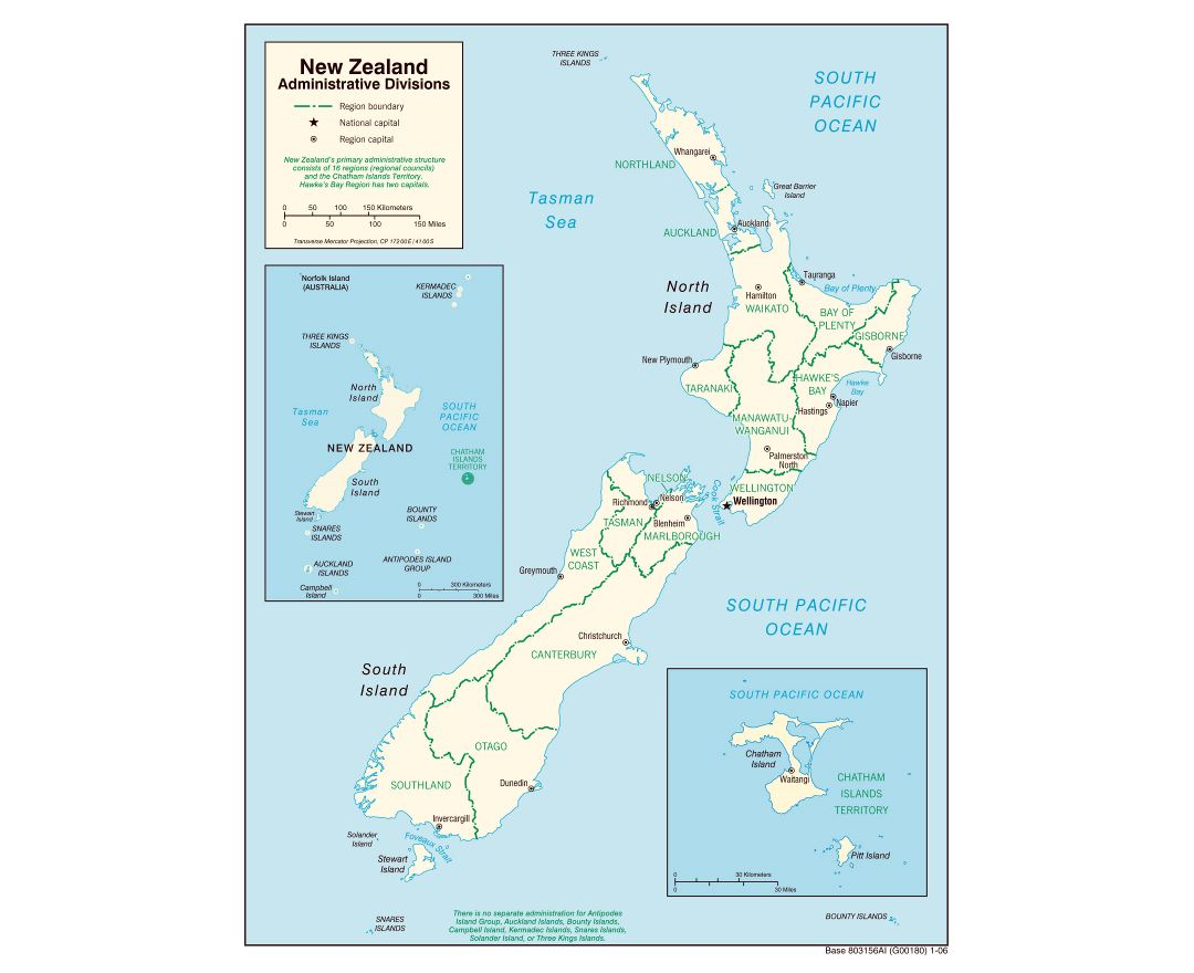 Large administrative divisions map of New Zealand - 2006