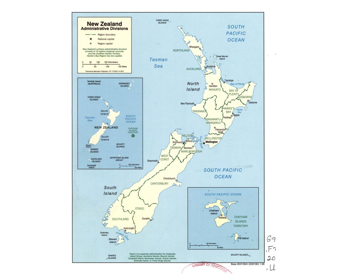 Large detailed administrative divisions map of New Zealand - 2006