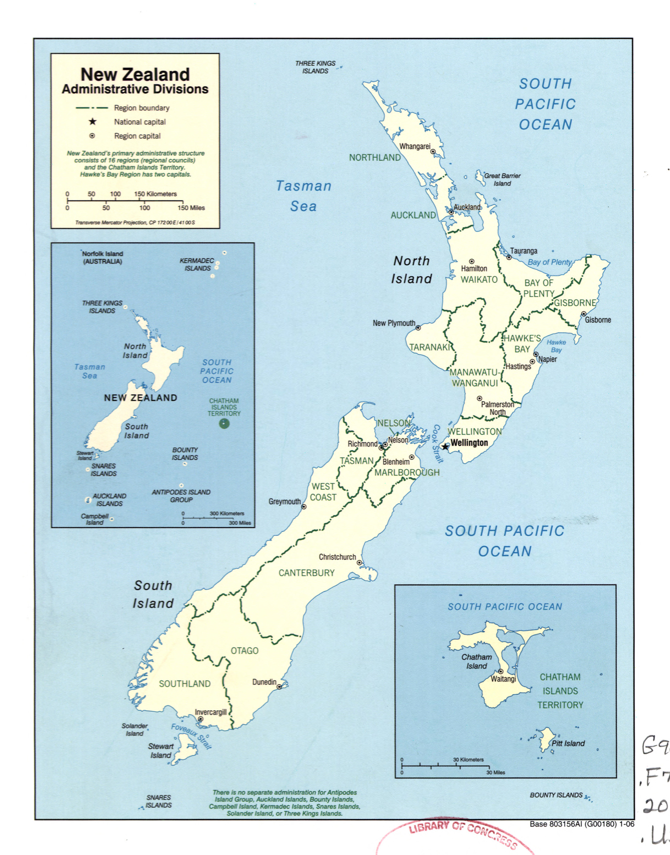 Large detailed administrative divisions map of New Zealand 2006