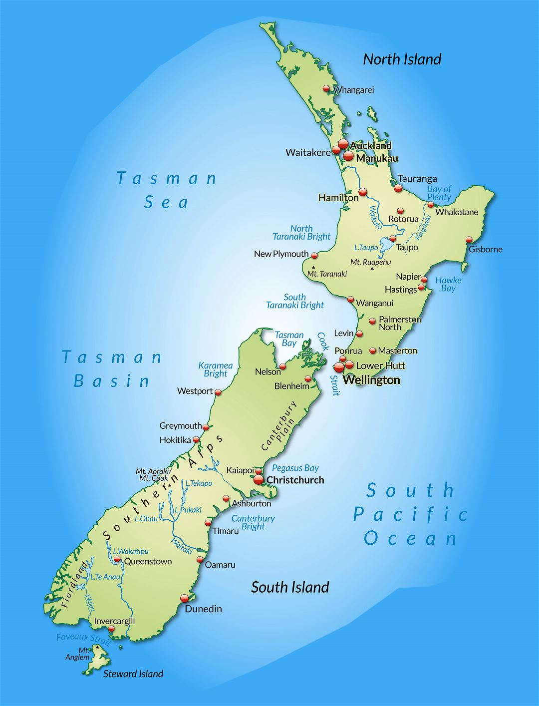 Large detailed map of New Zealand with cities