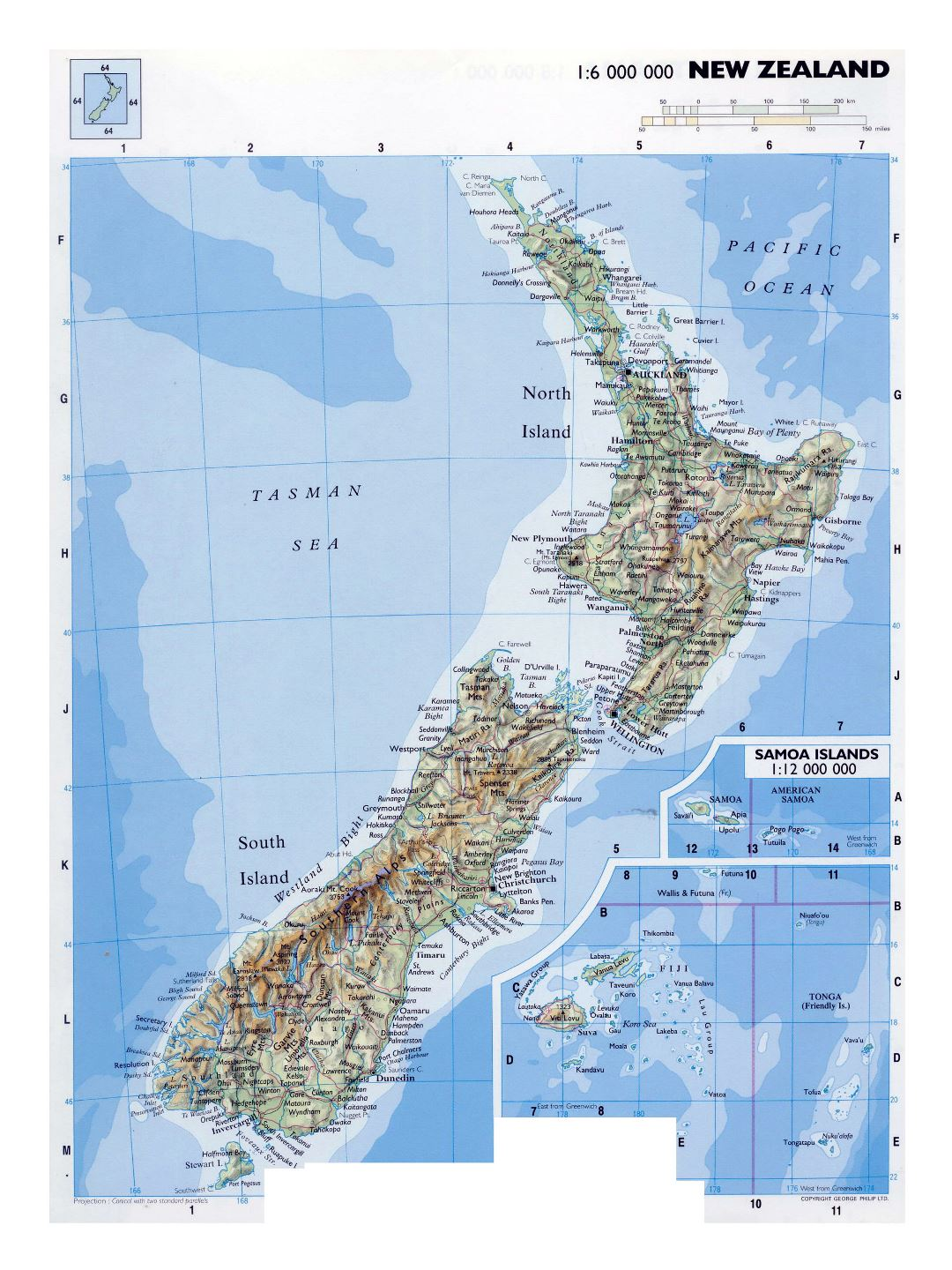 Large detailed map of New Zealand with relief, roads, railroads, cities, airports and other marks