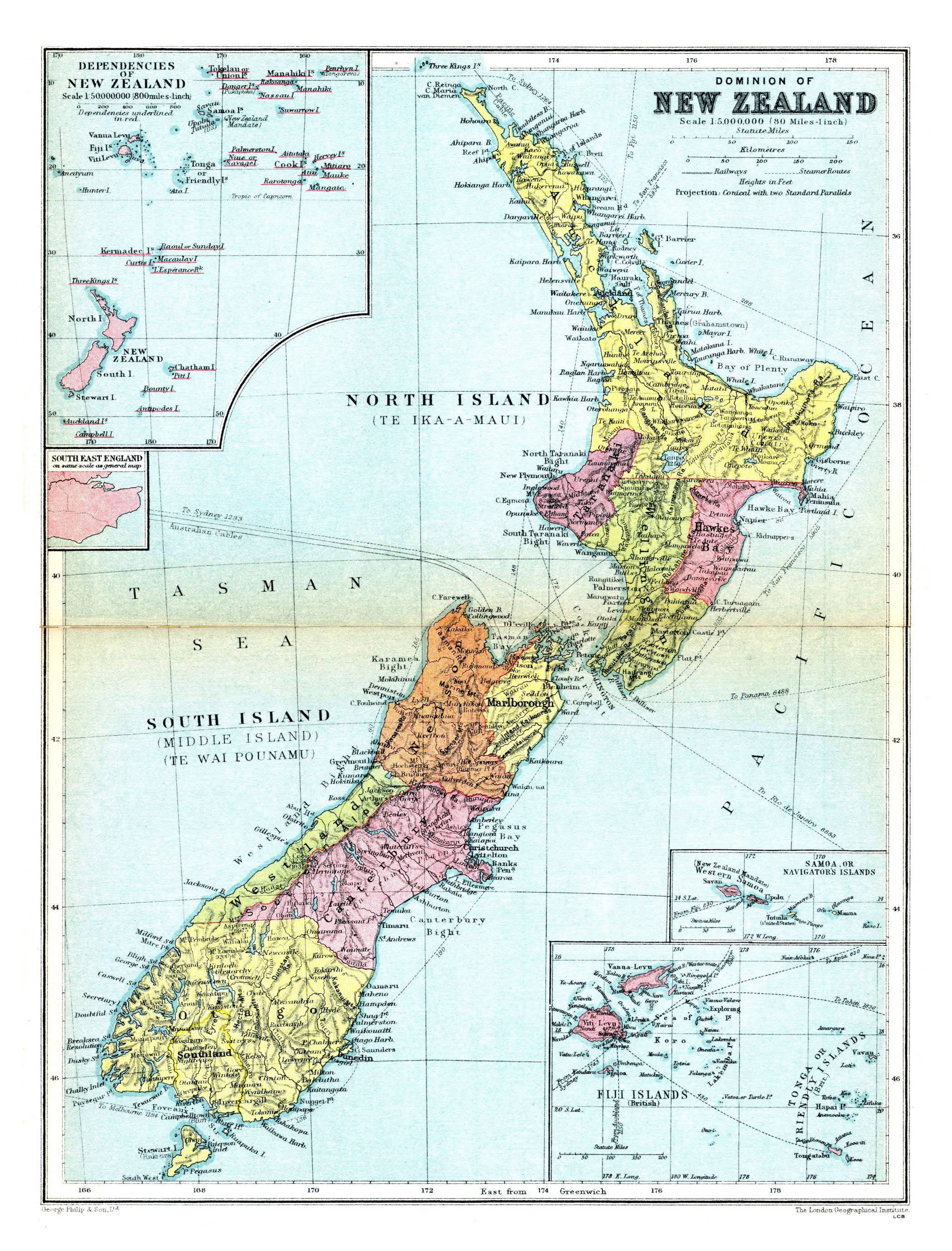 Large detailed old political and administrative map of New Zealand ...