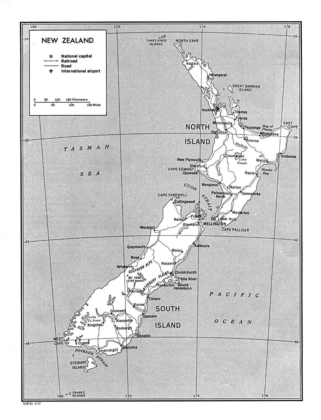 Large detailed political and administrative map of New Zealand with roads, railroads, cities and airports - 1977