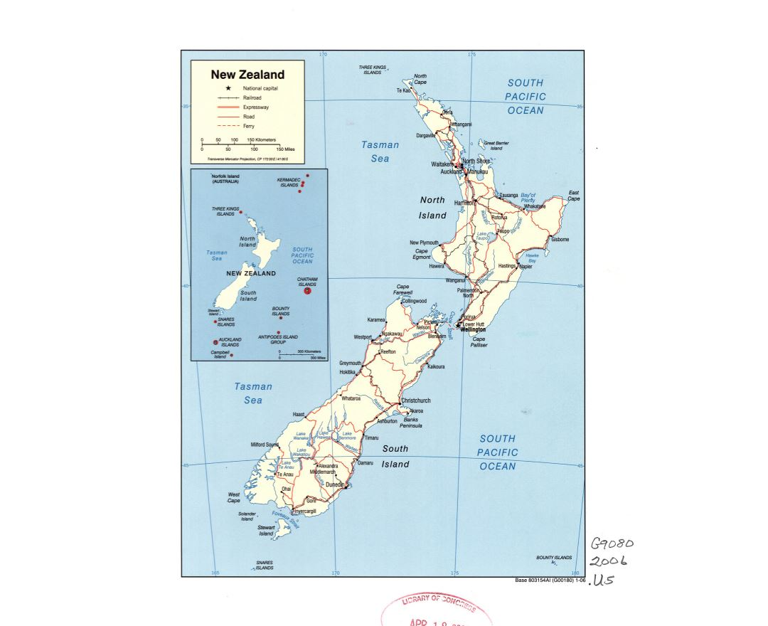 Maps of New Zealand Detailed map of New Zealand in English