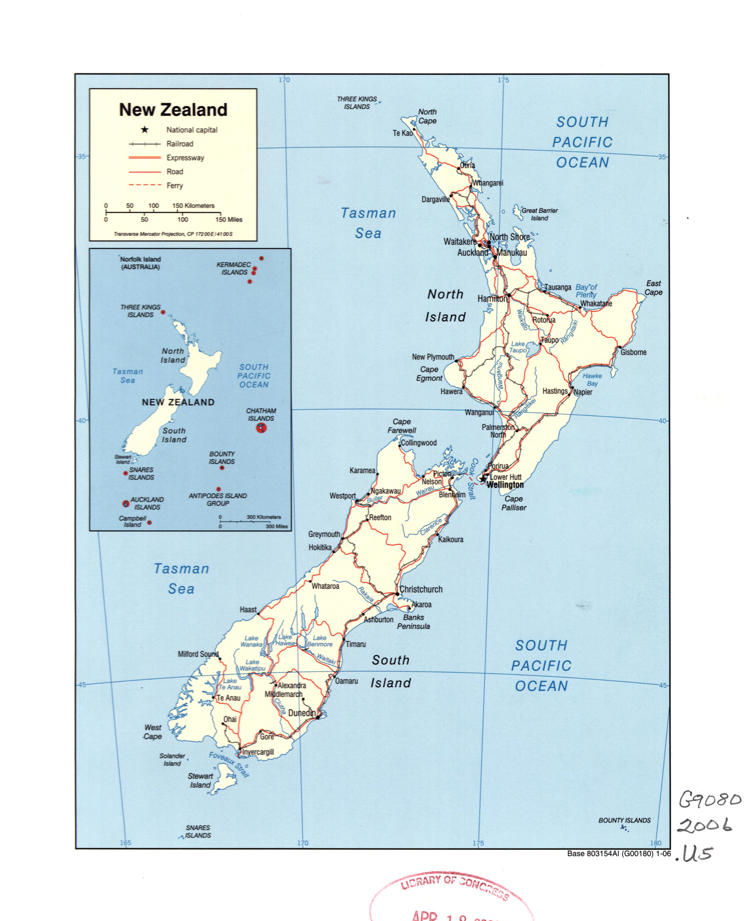 Political Map Of New Zealand.Large Detailed Political Map Of New Zealand With Marks Of Roads