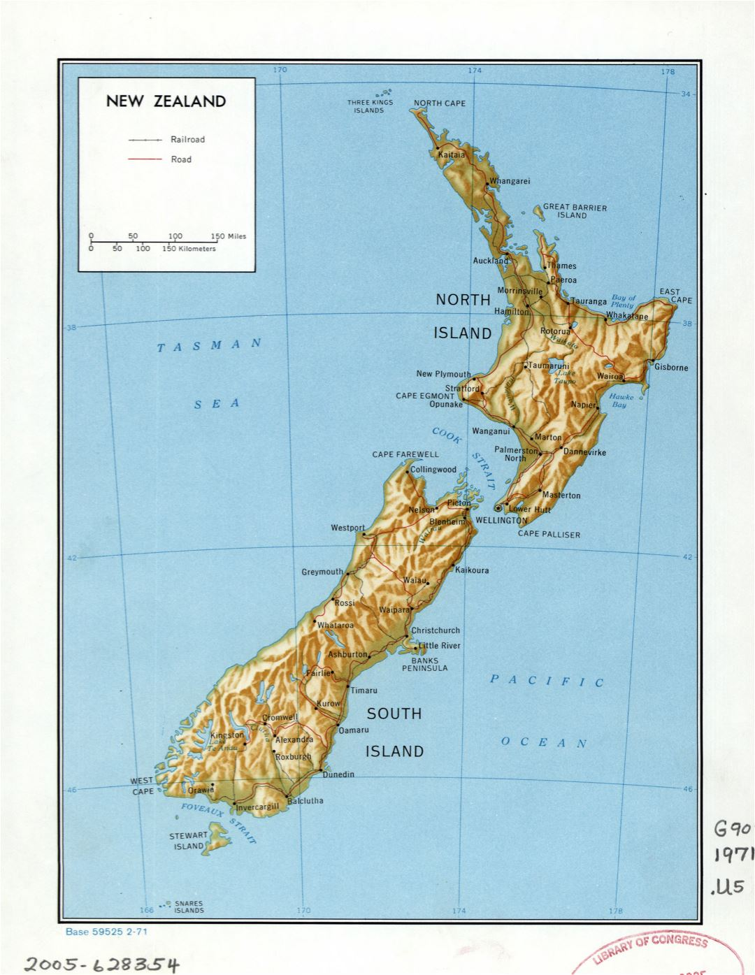 Large detailed political map of New Zealand with relief, marks of roads, railroads and cities - 1971