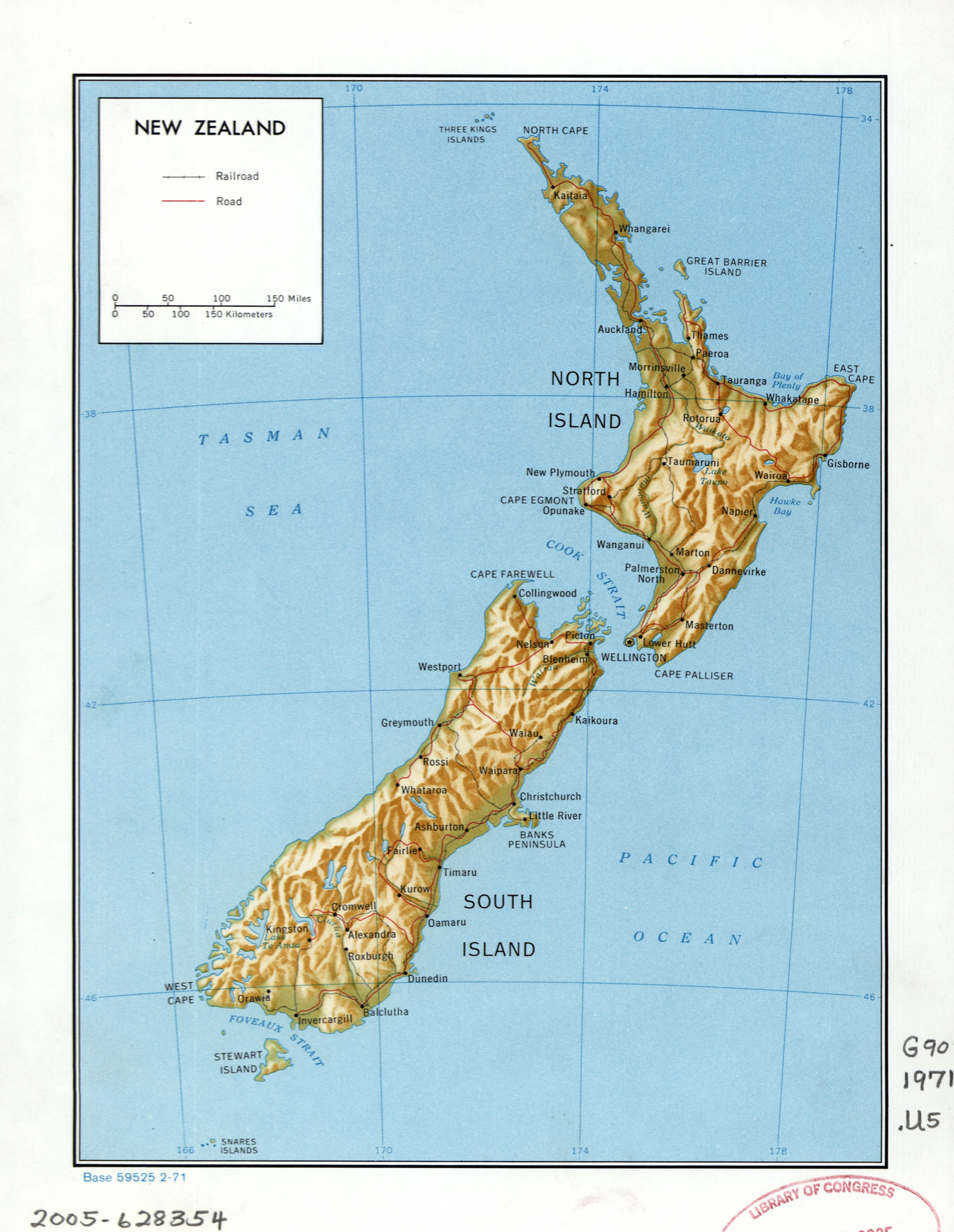 Political Map Of New Zealand.Large Detailed Political Map Of New Zealand With Relief Marks Of