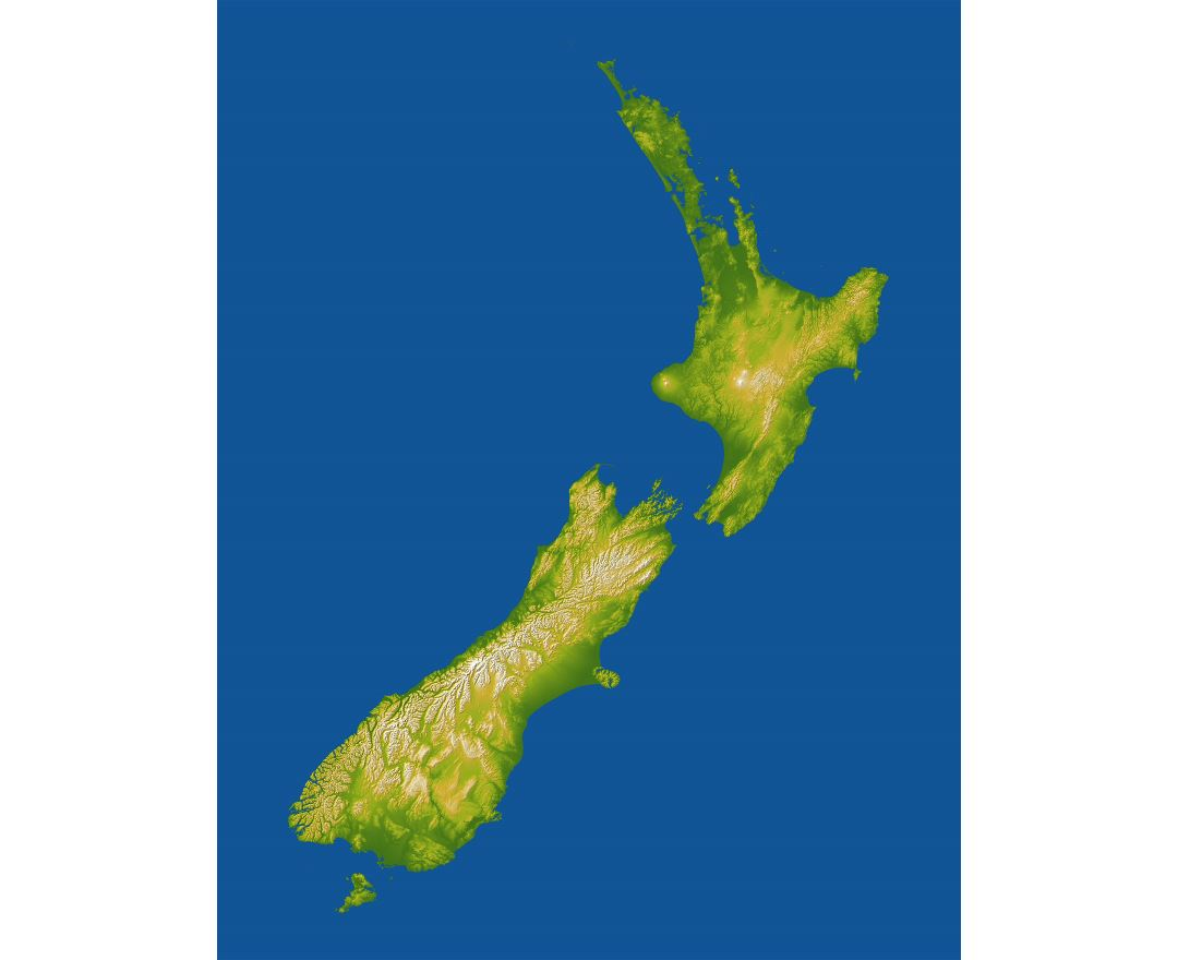 Large detailed relief map of New Zealand